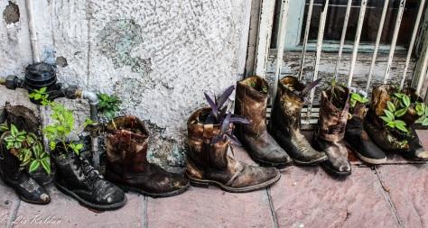 Zapatos reciclados en plantas, León Gto México